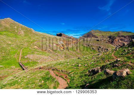 walking path leading to the Ponta de Sao Lourenco the eastern part of Madeira Portugal