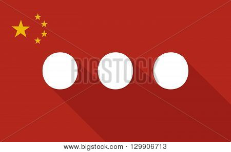 China Long Shadow Flag With   An Ellipsis Orthographic Sign