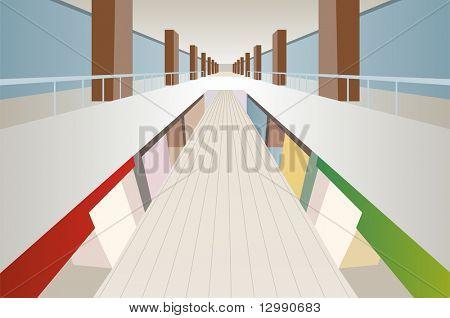 große Shop Handel Zentrum Galerie innen Vektor