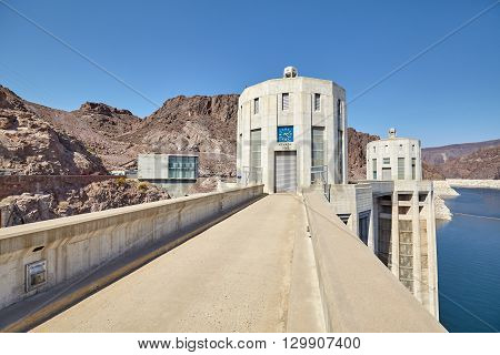 Wide Angle Picture Of The Hoover Dam Intake Towers.