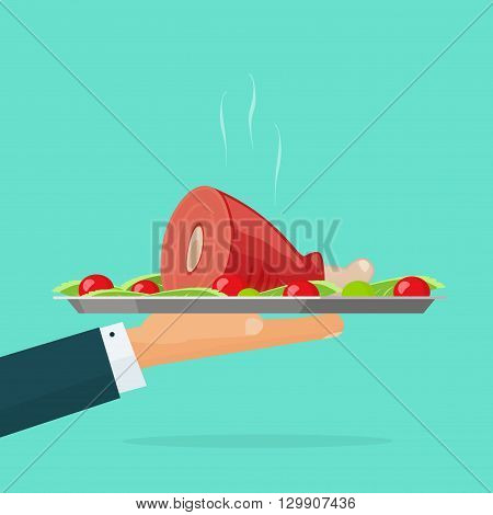 Hand holding serving tray with hot cooked food vector illustration isolated on green, waiter with roasted meat on plate, catering concept, fresh cooked chicken leg, lunch, dinner flat cartoon design