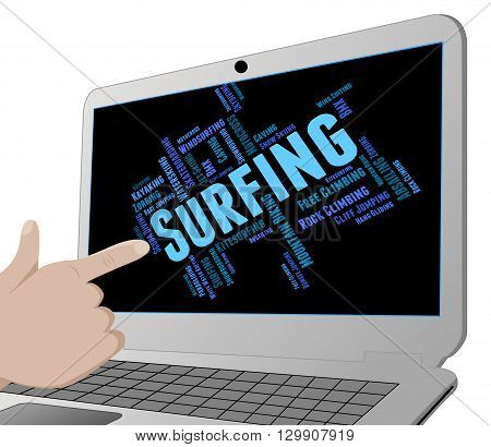 Surfing Word Represents Wordcloud Surfboard And Surfers