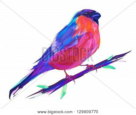 The set of exotic birds isolated on white background. The bullfinch sits on a branch.  Retro design graphic element. This is illustration ideal for a mascot and tattoo or T-shirt graphic. Stock illustration