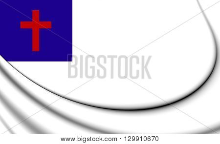 Christian 3D Flag. Close Up. Front View.