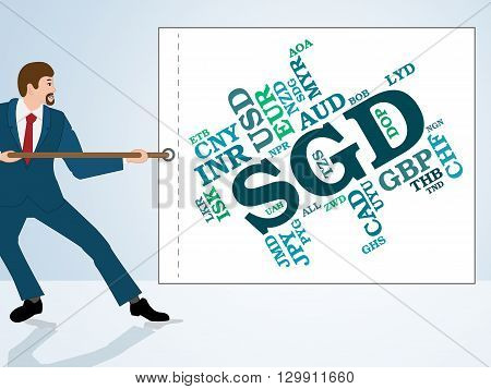 Sgd Currency Means Singapore Dollars And Coinage
