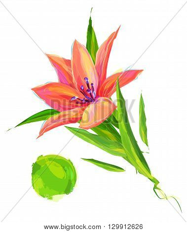 Cute  Flower. Set of flowers isolated on white background. Retro design graphic element. This is illustration ideal for a mascot and tattoo or T-shirt graphic. Stock illustration