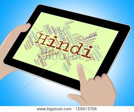 Hindi Language Shows Vocabulary Word And Communication