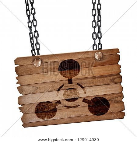 Chemical weapon sign, 3D rendering, wooden board on a grunge cha