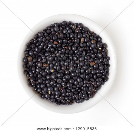 Bowl Of Beluga Lentil Isolated On White, From Above