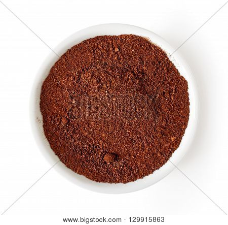Bowl Of Coffee Powder Isolated On White, From Above