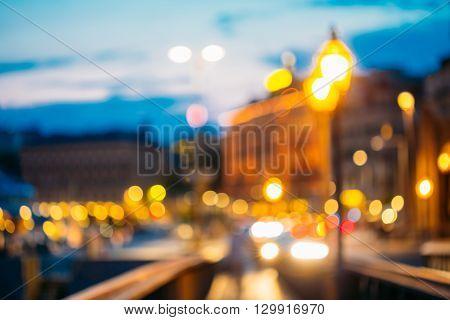 Real Natural Blurred Colorful Bokeh Background With Defocused Lights In Stockholm, Sweden