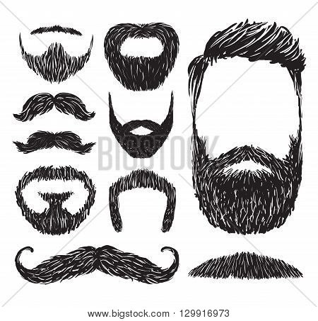 Set of mustache and beard silhouettes, vector illustration.