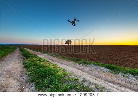 Varna Bulgaria - April 21 2016: Image of DJI Inspire 1 Pro drone UAV quadcopter which shoots 4k video and 16mp still images and is controlled by wireless remote with a range of 2km