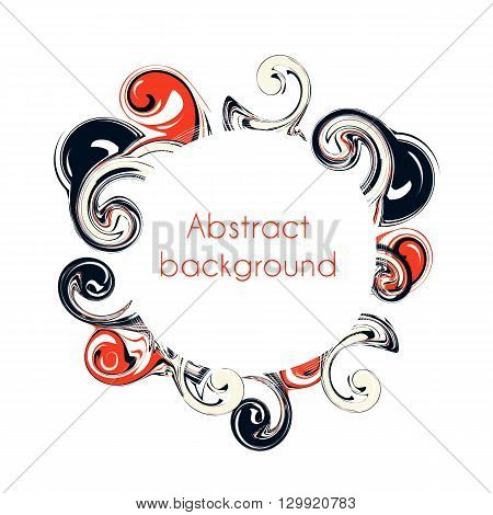 Abstract round frame. Color creative abstract waves and surges in the form of a circle. Vector illustration. Red and black color.