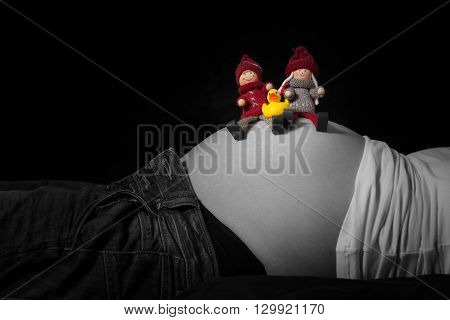 parent dolls and baby duck sitting on pregnant belly of mother