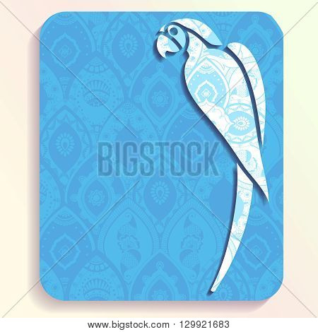 Vacation illustration of a parrot silhouette filled with very intricate patterns. Graphics are grouped and in several layers for easy editing. The file can be scaled to any size.