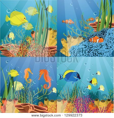 Tropical underwater life - coral reef with fish on a blue sea background. Vector illustration. Set of the vector illustrations.