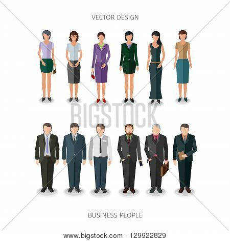 collection of twelve people standing frontal in business cloth