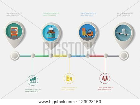 Set of geo location pointers. Transport icons infographic timeline.