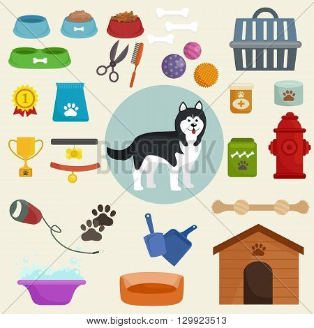 Dog icons flat set with dung kennel leash food bowl isolated vector illustration