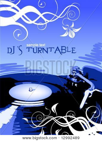 Dj's turntable and floral decor