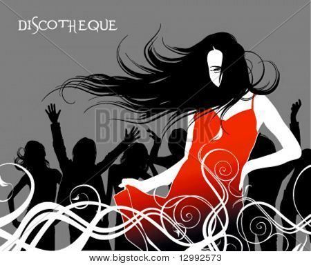 Discotheque. Girl in red.