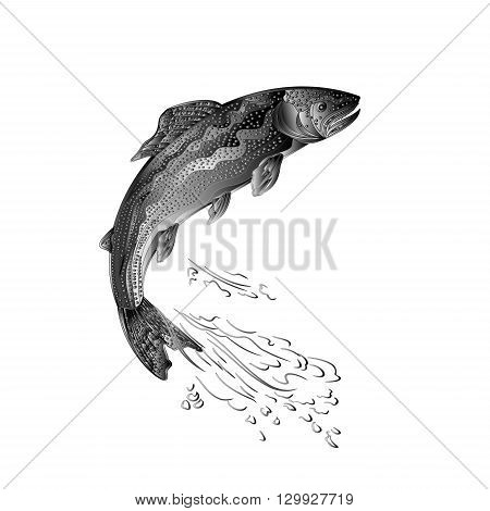 Trout jumps as wrought metal vintage vector