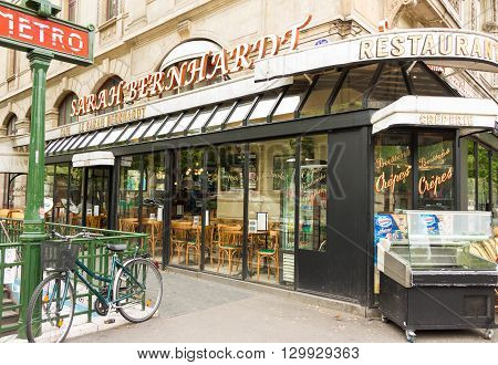 Paris France-May 16 2016 : The famous Franch cafe Sarah Bernardt named afterthe famed Parisian actress and singer located at place du Chatelet in Paris.