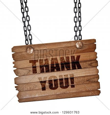 thank you, 3D rendering, wooden board on a grunge chain
