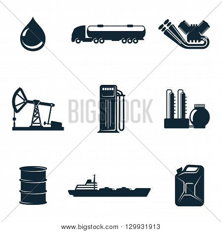 Oil icons, vector icons isolate on a white background, a set of  gasoline filling station with fuel tankers and a barrel of gasoline icons, oil station manufacturing  and marketing of oil icons poster