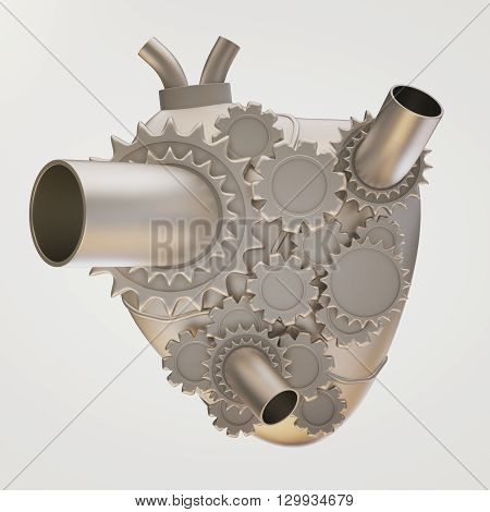 Iron heart with gears on light background. 3D Rendering