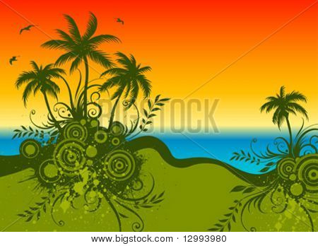 Palms. Abstract floral background.