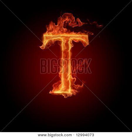 Fiery font. Letter T