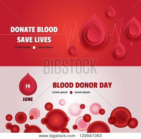Set of two world blood donor day concept banners: with heartbeat and paper blood drops with blood cells. Medical posters
