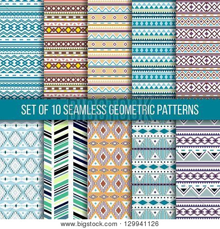 Set of 10 seamless ethnic tribal geometric patterns. Aztec boho ornamental style. Ethnic native american indian ornaments. Vecror.
