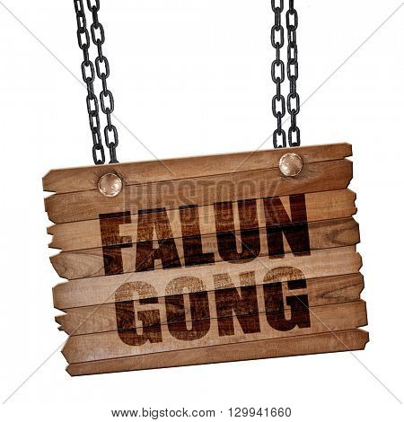Falun gong, 3D rendering, wooden board on a grunge chain