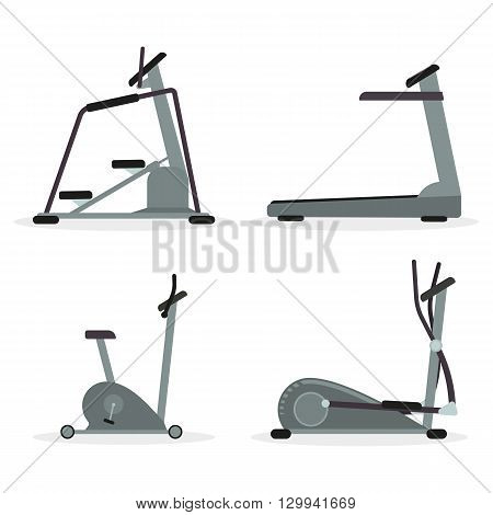 Set of cardio machines - treadmill elliptical trainer stepper exercise bike. Vector.