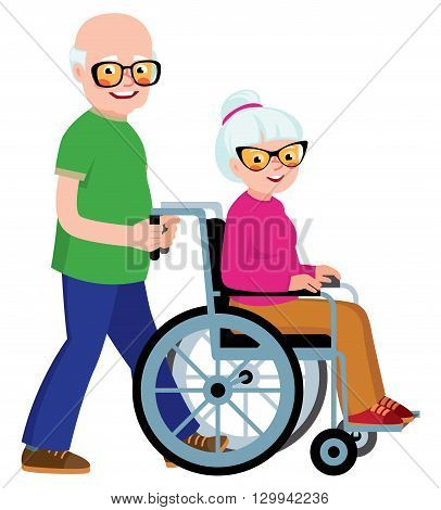 Married couple senior man and his wife in a wheelchair Stock vector illustration