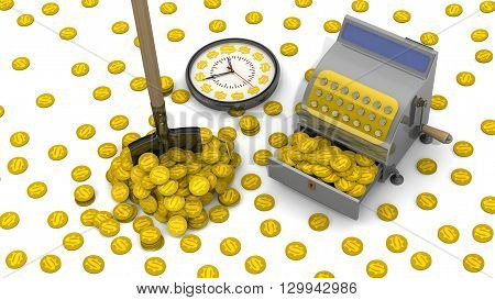 Time to make money. The open cash register filled with USA coins shovel in a pile of coins a lot of scattered coins and clock on a white surface. The concept of financial success. 3D Illustration poster
