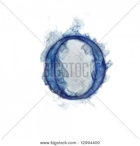 Letter O. Ink in water.