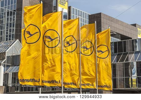 Lufthansa Flag With Lufthansa Symbol, The Crane In Frankfurt