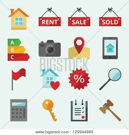 Set of colored vector icons for web site Real Estate