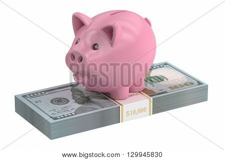 Piggy bank and dollar pack 3D rendering isolated on white background