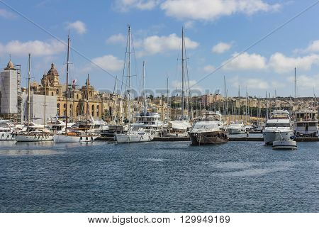 View Over The Grand Harbour Of Valetta With Big Yachts