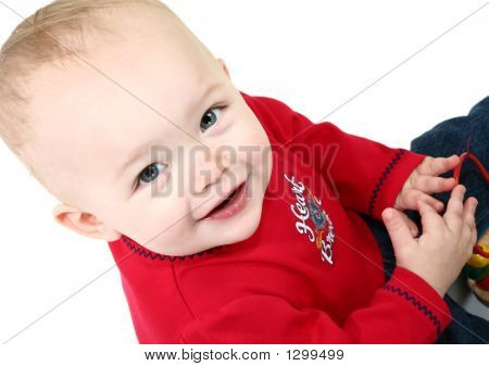 adorable 14 month old baby girl in red and denum. poster