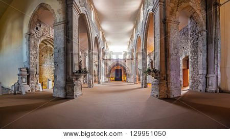 Santarem, Portugal. September 9, 2015: The Church naves and high-choir of the Sao Francisco Convent. 13th century Mendicant Gothic Architecture. Franciscan Religious Order.