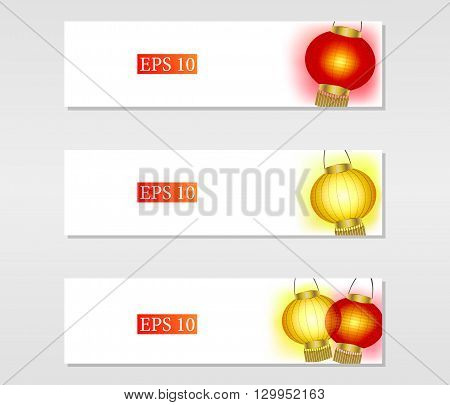Set of vector banners with yellow and red Chinese paper lanterns vector illustration