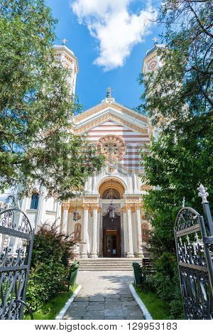 Saint Spyridon the New Church a romanian orthodox church in Bucharest Romania built in 1860 in gothic style with moldavian art elements and painted by romanian painter Gheorghe Tattarescu