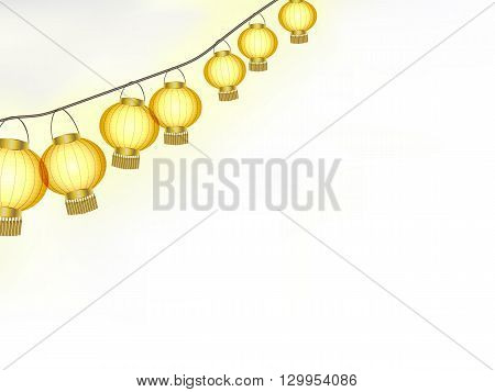 Garland of yellow paper lanterns vector illustration