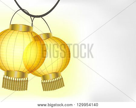 Glowing yellow paper lanterns on white background vector illustration